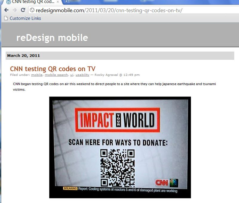 CNN ROYAL WEDDING COVERAGE QR CODE LINKS TO MOBILE WEDDING