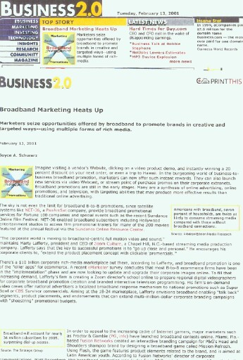 Business 2.0 Article on Next Gen Broadband and TV