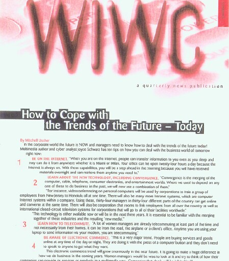 Wireless Women Newsletter Turns to Joyce Schwarz as EXPERT