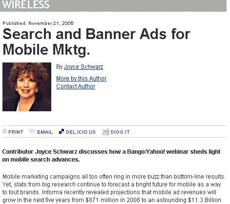 Search and Banner Mobile Ads by Joyce Schwarz